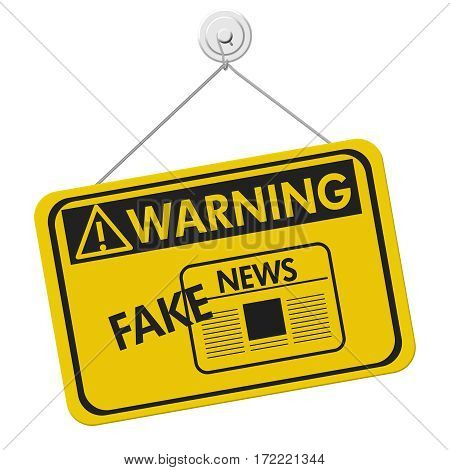 Fake News warning sign A yellow warning hanging sign with text Fake News isolated over white 3D Illustration