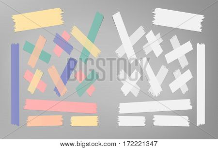 Set of different size, colorful sticky paper, adhesive, masking tape stuck on gray background.