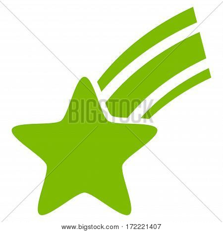 Falling Star flat icon. Vector light green symbol. Pictograph is isolated on a white background. Trendy flat style illustration for web site design logo ads apps user interface.