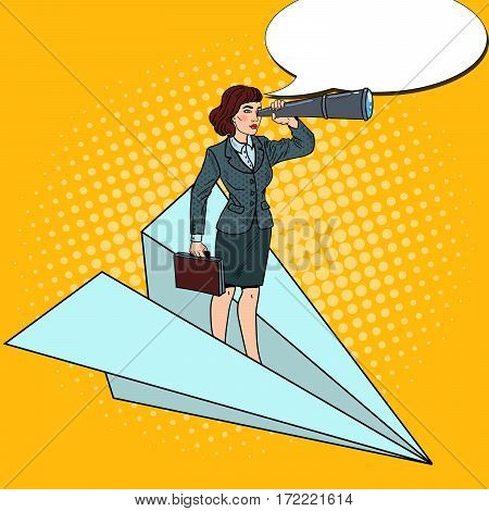 Pop Art Confident Business Woman Flying on Paper Plane with Spyglass. Vector illustration