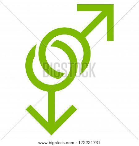 Gay Love Symbol flat icon. Vector light green symbol. Pictogram is isolated on a white background. Trendy flat style illustration for web site design logo ads apps user interface.