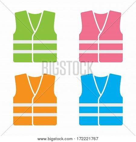 High visibility vest. Vector icon set isolated on white background.