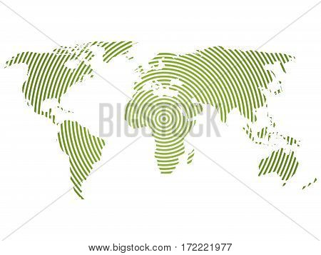 World map of green concentric rings on white background. Worldwide communication radio waves concept Modern design vector wallpaper.
