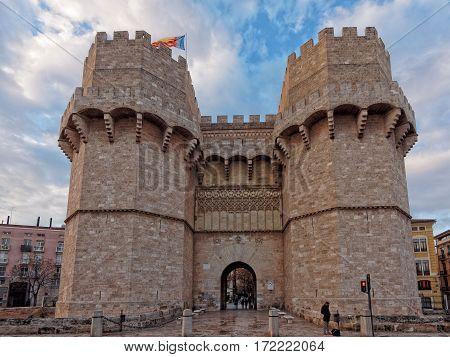 Serranos gate, entrance located in the walls of Valencia city
