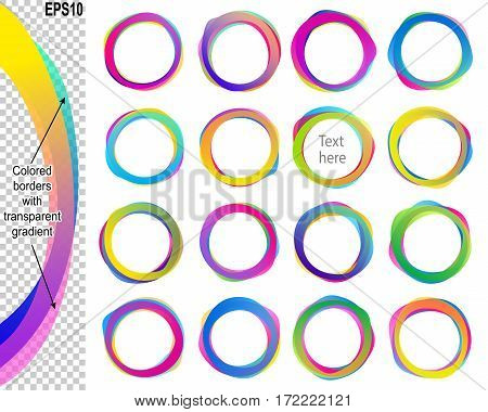 Banners from text balloons with transparent overlapping colored borders; Vector set icon of ring frames with copy space Eps10