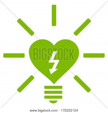 Heart Electric Bulb flat icon. Vector light green symbol. Pictograph is isolated on a white background. Trendy flat style illustration for web site design logo ads apps user interface.