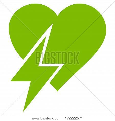 Heart Shock flat icon. Vector light green symbol. Pictogram is isolated on a white background. Trendy flat style illustration for web site design logo ads apps user interface.