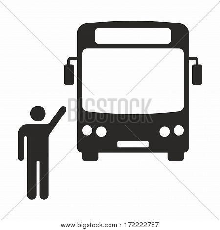 Bus stop. Vector icon isolated on white background.