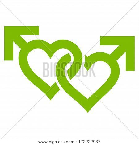 Linked Gay Hearts flat icon. Vector light green symbol. Pictogram is isolated on a white background. Trendy flat style illustration for web site design logo ads apps user interface.