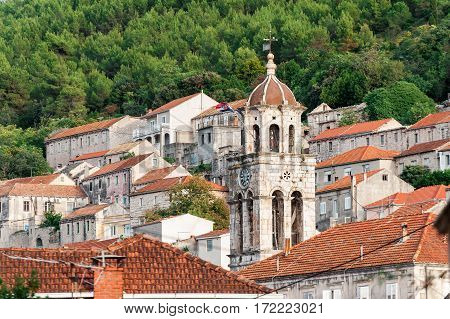 Old Rooftops And Church Bell Tower In Blato On Korcula In Croatia