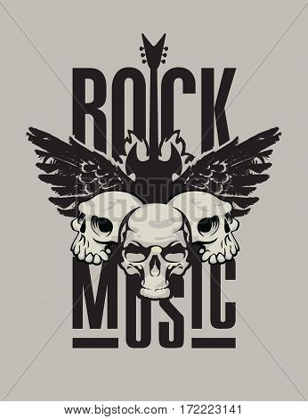 banner for rock music with electric guitar with wings on fire and human skulls