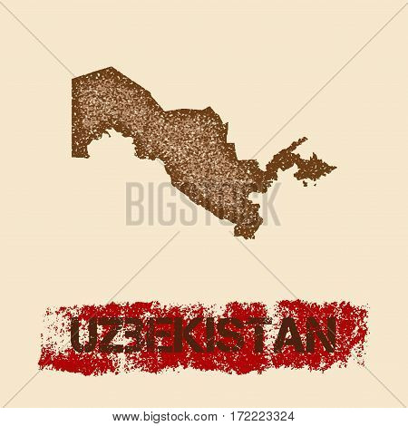Uzbekistan Distressed Map. Grunge Patriotic Poster With Textured Country Ink Stamp And Roller Paint