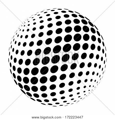 Abstract halftone 3D sphere of circle dots in cross arrangement. Simple modern design vector element in black and white.