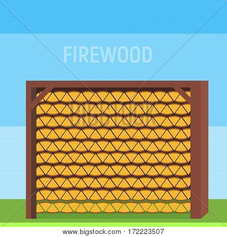 Neatly stacked wood in the shed or in the house to store firewood