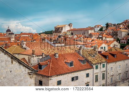 Rooftops In Dubrovnik Old Town In Croatia On A Sunny Day With Blue Sky
