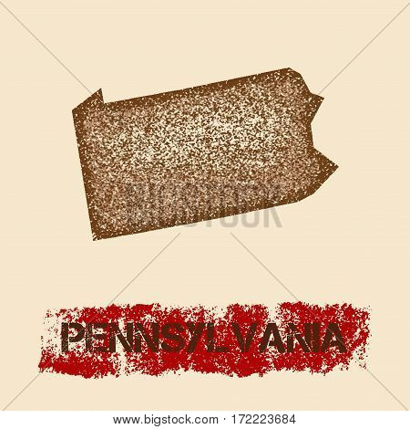 Pennsylvania Distressed Map. Grunge Patriotic Poster With Textured State Ink Stamp And Roller Paint