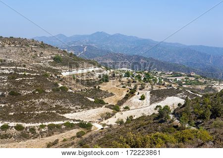 Beautiful landscape of green hills og Troodos mountain, Cyprus