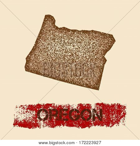 Oregon Distressed Map. Grunge Patriotic Poster With Textured State Ink Stamp And Roller Paint Mark,
