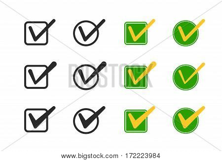 Set of Check box vector icons. Vote mark sign choice yes