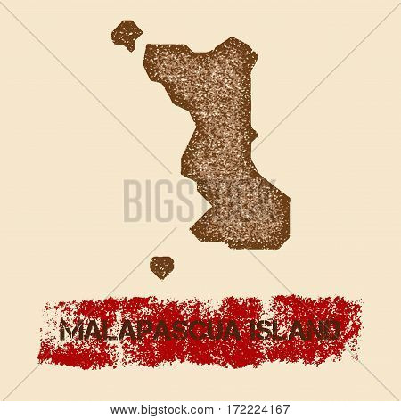 Malapascua Island Distressed Map. Grunge Patriotic Poster With Textured Island Ink Stamp And Roller