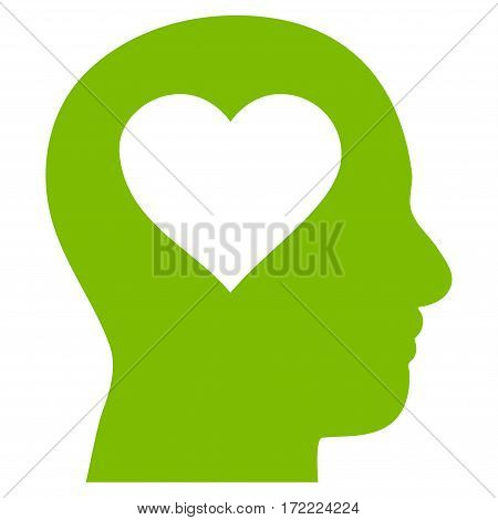 Love In Head flat icon. Vector light green symbol. Pictogram is isolated on a white background. Trendy flat style illustration for web site design logo ads apps user interface.