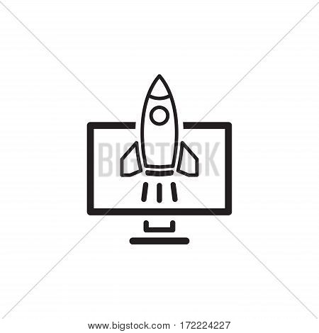 Business Start-up Icon. Concept. Flat Design Isolated Illustration. Rocket Launch.