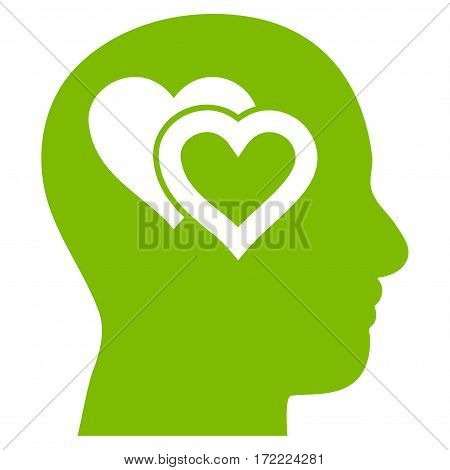 Love In Mind flat icon. Vector light green symbol. Pictograph is isolated on a white background. Trendy flat style illustration for web site design logo ads apps user interface.