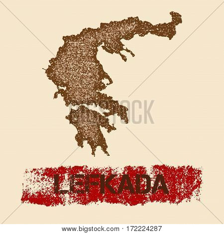 Lefkada Distressed Map. Grunge Patriotic Poster With Textured Island Ink Stamp And Roller Paint Mark