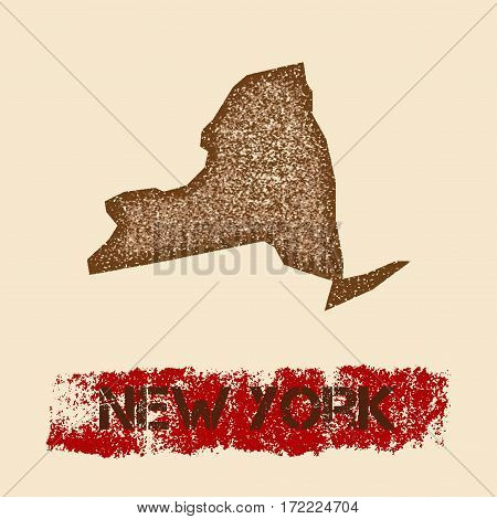 New York Distressed Map. Grunge Patriotic Poster With Textured State Ink Stamp And Roller Paint Mark