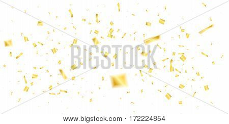 Golden confetti. Holiday shiny confetti on white background. Flying confetti.