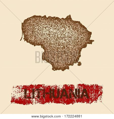 Lithuania Distressed Map. Grunge Patriotic Poster With Textured Country Ink Stamp And Roller Paint M