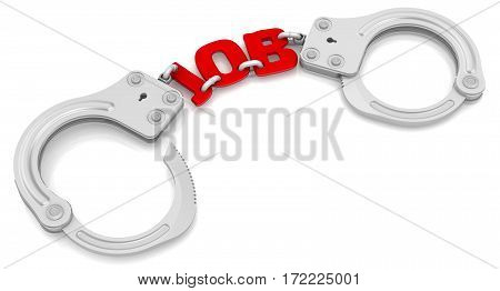 Job as limiter of freedom. Steel handcuffs with red word