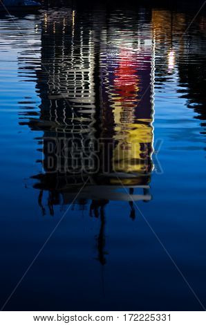 Reflection of a building in a lake at sunset, Ada, Belgrade, Serbia