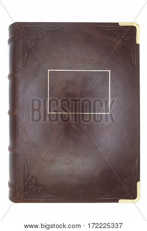 Leather cover of an old book with a blank gold frame for an inscription. Isolated.
