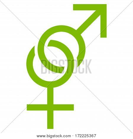 Sex Symbol flat icon. Vector light green symbol. Pictograph is isolated on a white background. Trendy flat style illustration for web site design logo ads apps user interface.