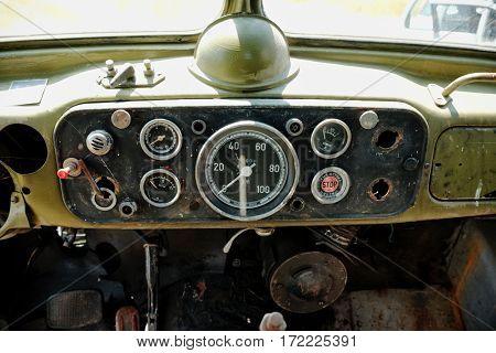 PLUZINE, MONTENEGRO - JULY 27, 2016: dashboard of TAM (Tovarna Avtomobilov Maribor = Maribor Automobile Factory) 5000 D a Yugoslavian commercial vehicle manufacturer