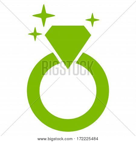 Sparkle Diamond Ring flat icon. Vector light green symbol. Pictograph is isolated on a white background. Trendy flat style illustration for web site design logo ads apps user interface.