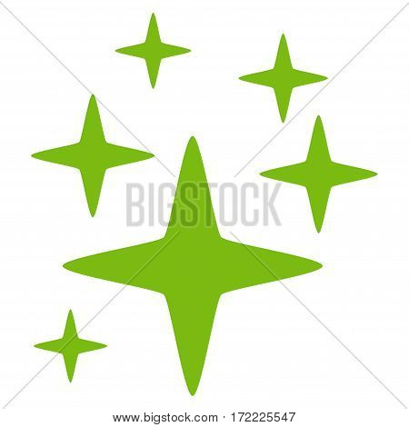 Sparkle Stars flat icon. Vector light green symbol. Pictograph is isolated on a white background. Trendy flat style illustration for web site design logo ads apps user interface.