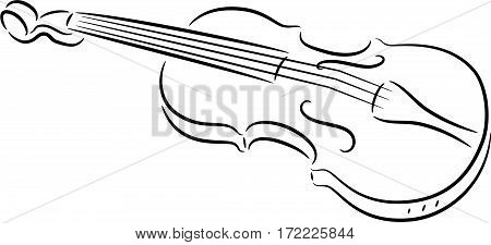 Vector illustration of a cute violin, isolated