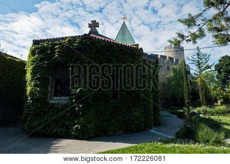 Church inside Kalemegdan fortress at summer morning in Belgrade, Serbia