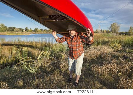 senior male paddler is portaging a canoe between lakes, Riverbend Ponds Natural Area, Fort Collins, Colorado
