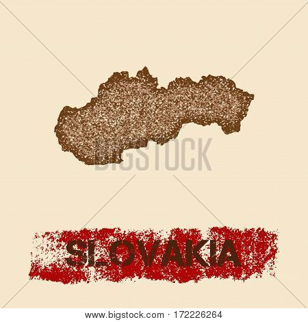 Slovakia Distressed Map. Grunge Patriotic Poster With Textured Country Ink Stamp And Roller Paint Ma