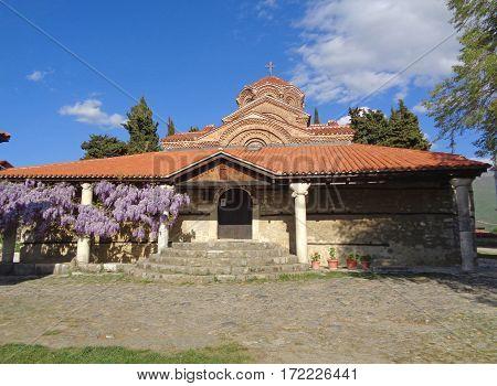 Church of Sveta Bogorodica Perivlepta against vivid blue sky, Ohrid, Republic of Macedonia