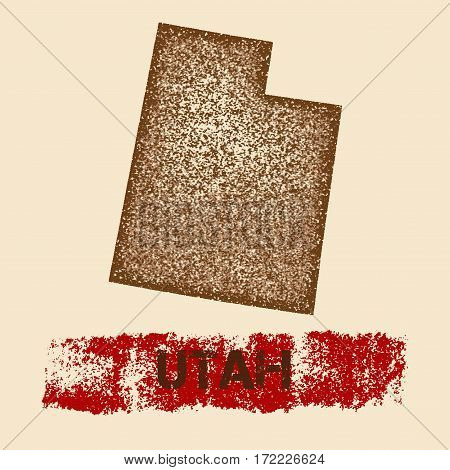 Utah Distressed Map. Grunge Patriotic Poster With Textured State Ink Stamp And Roller Paint Mark, Ve