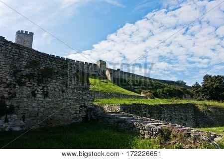 View of Kalemegdan fortress wall from below in Belgrade, Serbia