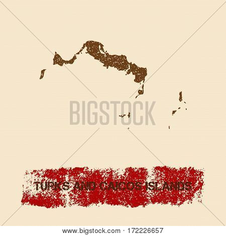 Turks And Caicos Islands Distressed Map. Grunge Patriotic Poster With Textured Island Ink Stamp And