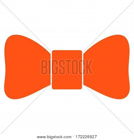 Bow Tie flat icon. Vector orange symbol. Pictogram is isolated on a white background. Trendy flat style illustration for web site design logo ads apps user interface.