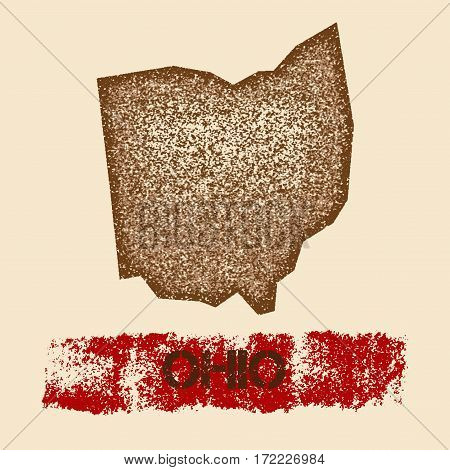 Ohio Distressed Map. Grunge Patriotic Poster With Textured State Ink Stamp And Roller Paint Mark, Ve