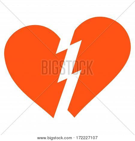 Broken Heart flat icon. Vector orange symbol. Pictogram is isolated on a white background. Trendy flat style illustration for web site design logo ads apps user interface.