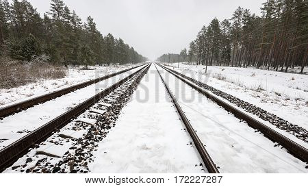 Railroad Tracks In Snowy Winter Day